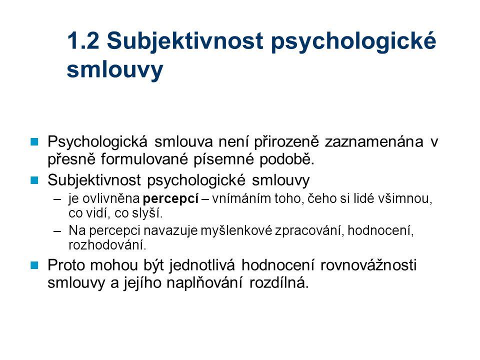 1.2 Subjektivnost psychologické smlouvy