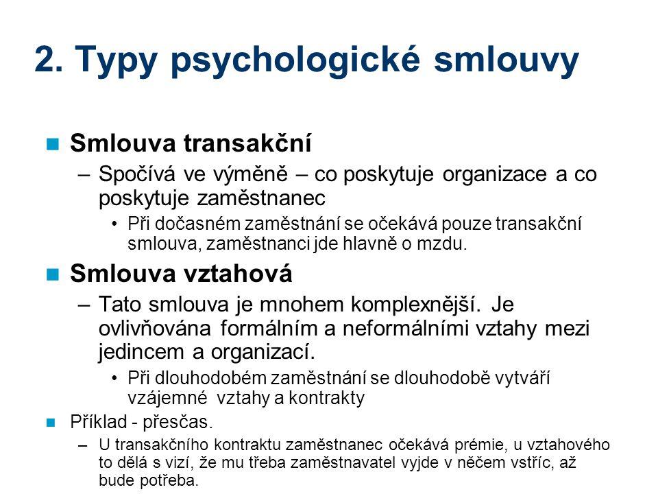 2. Typy psychologické smlouvy