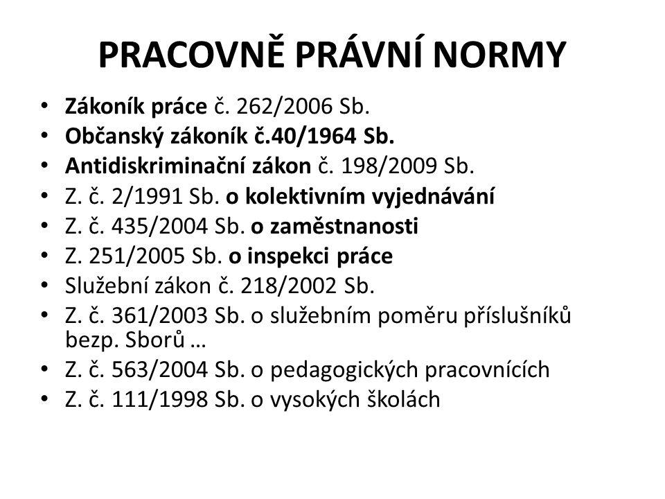 Pracovně právní normy Zákoník práce č. 262/2006 Sb.