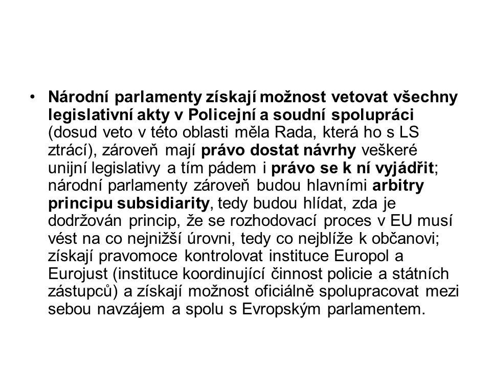 Národní parlamenty získají možnost vetovat všechny legislativní akty v Policejní a soudní spolupráci (dosud veto v této oblasti měla Rada, která ho s LS ztrácí), zároveň mají právo dostat návrhy veškeré unijní legislativy a tím pádem i právo se k ní vyjádřit; národní parlamenty zároveň budou hlavními arbitry principu subsidiarity, tedy budou hlídat, zda je dodržován princip, že se rozhodovací proces v EU musí vést na co nejnižší úrovni, tedy co nejblíže k občanovi; získají pravomoce kontrolovat instituce Europol a Eurojust (instituce koordinující činnost policie a státních zástupců) a získají možnost oficiálně spolupracovat mezi sebou navzájem a spolu s Evropským parlamentem.