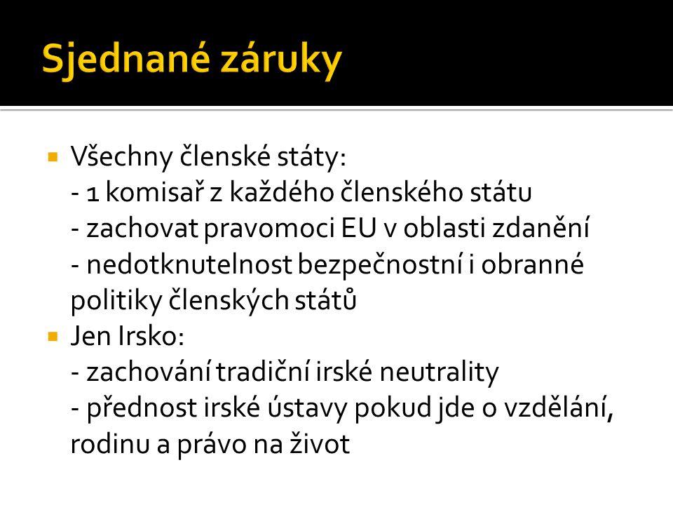 Sjednané záruky Všechny členské státy: