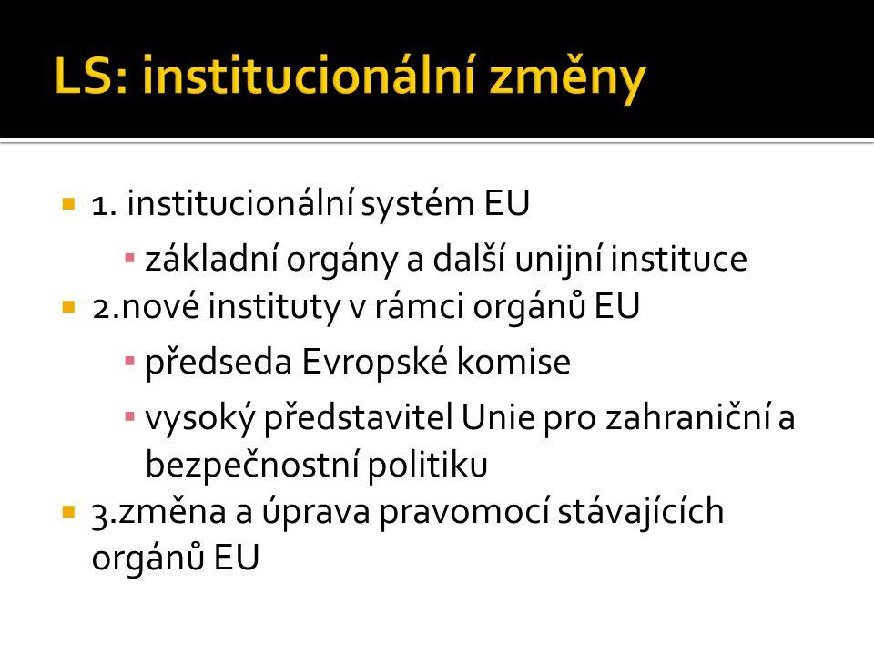 LS: institucionální změny