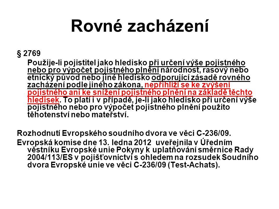 Rovné zacházení § 2769.