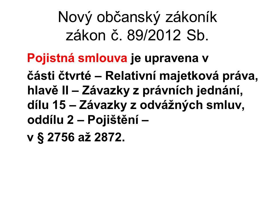 Nový občanský zákoník zákon č. 89/2012 Sb.
