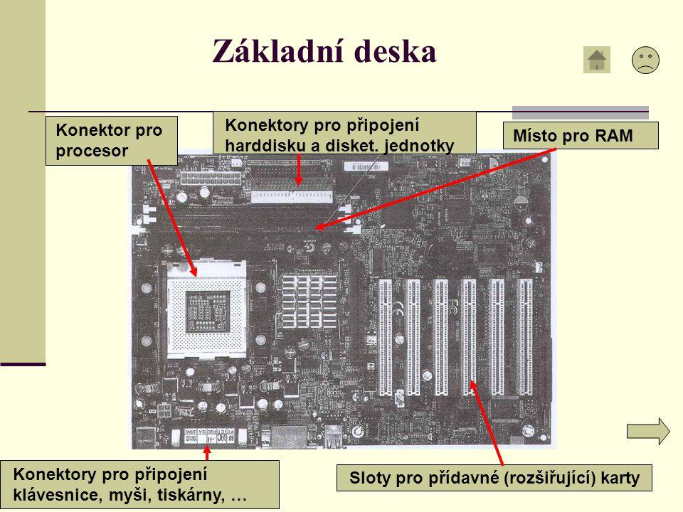 Základní deska Konektory pro připojení harddisku a disket. jednotky