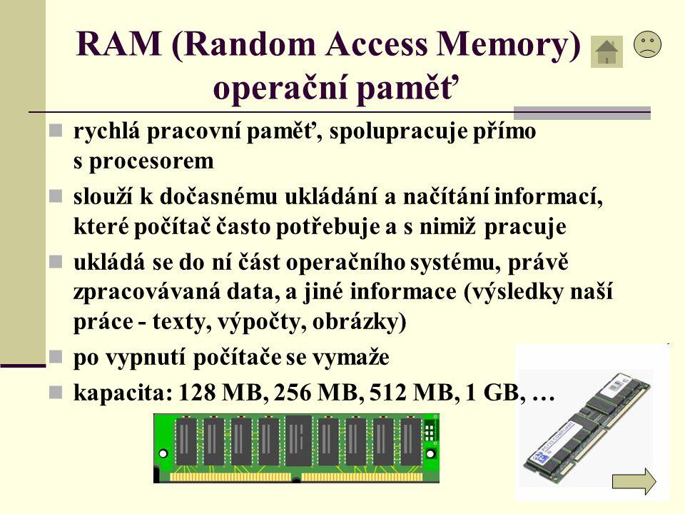 RAM (Random Access Memory) operační paměť