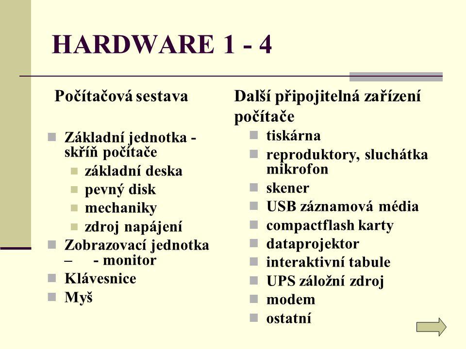 HARDWARE 1 - 4 Počítačová sestava Další připojitelná zařízení počítače