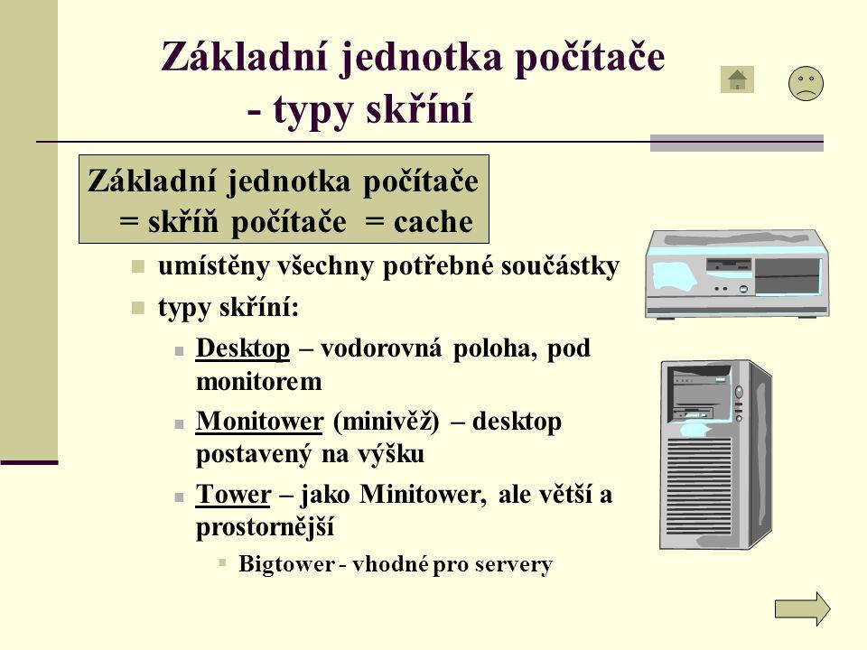 Základní jednotka počítače - typy skříní