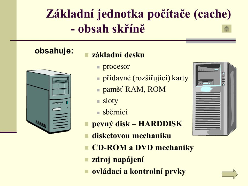 Základní jednotka počítače (cache) - obsah skříně