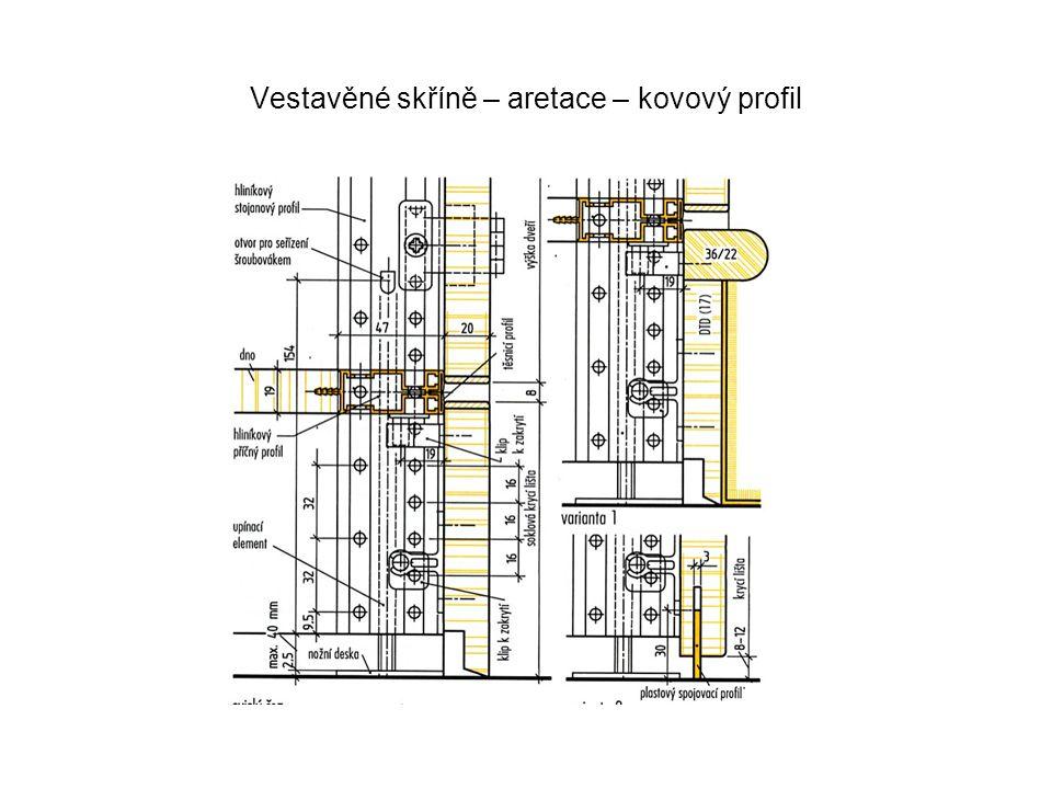Vestavěné skříně – aretace – kovový profil