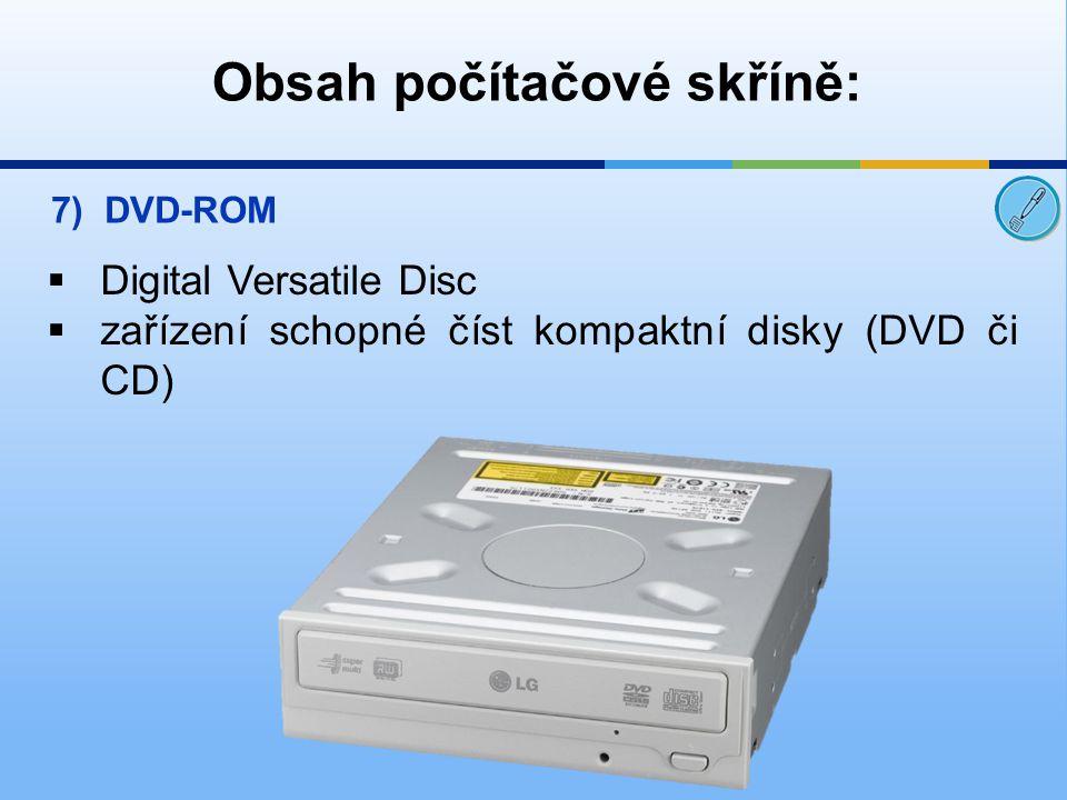 Obsah počítačové skříně: