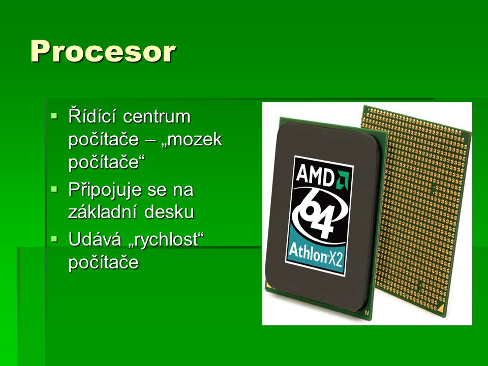 """Procesor Řídící centrum počítače – """"mozek počítače"""