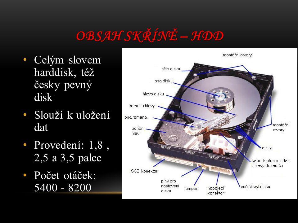 Obsah skříně – HDD Celým slovem harddisk, též česky pevný disk