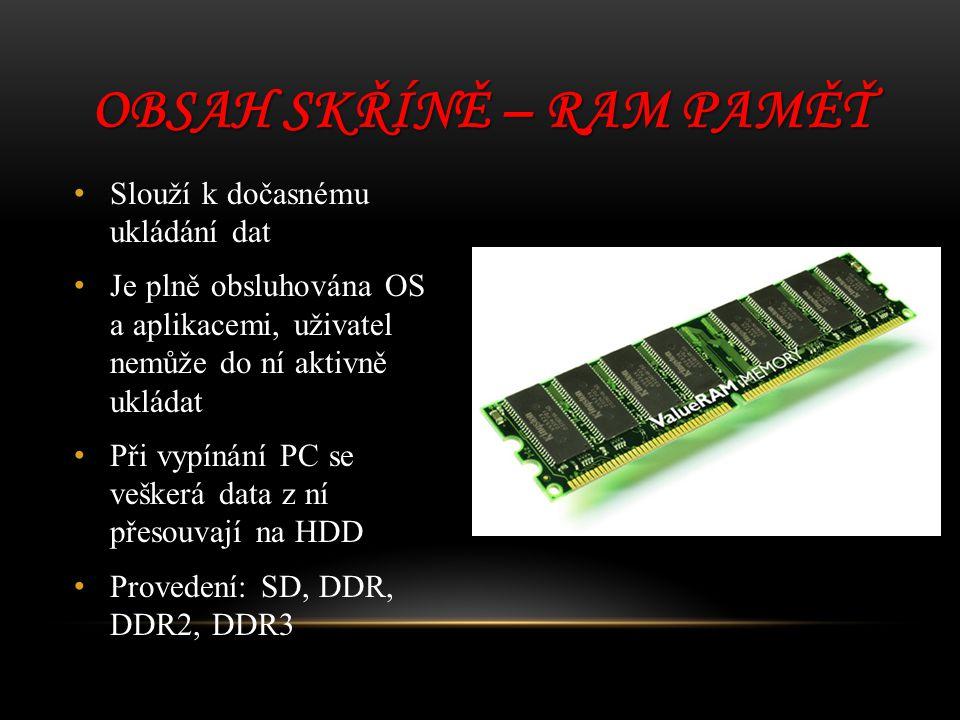 Obsah skříně – RAM paměť
