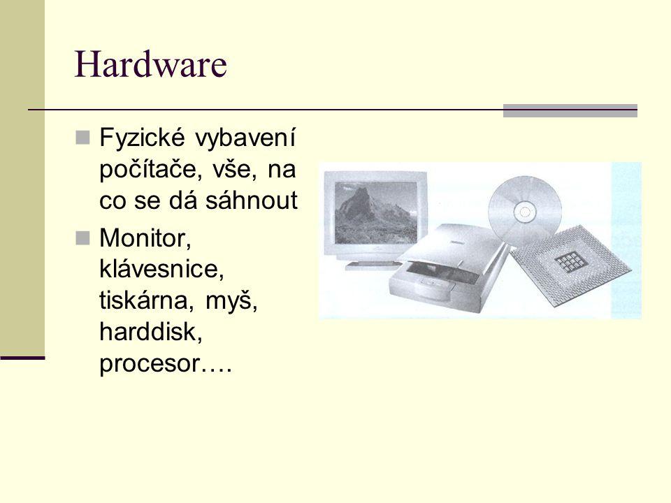 Hardware Fyzické vybavení počítače, vše, na co se dá sáhnout