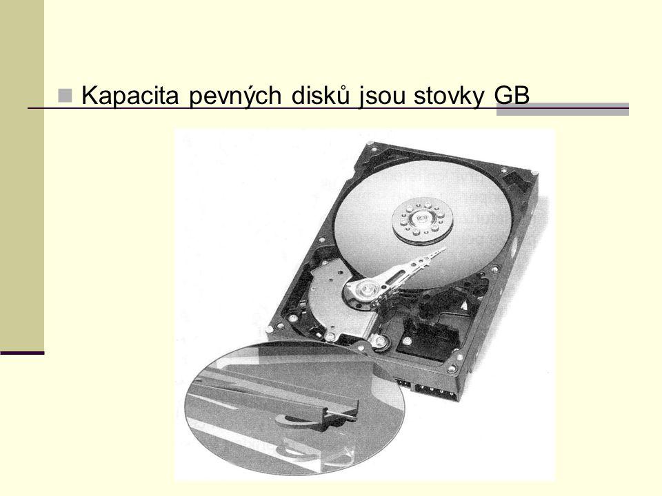 Kapacita pevných disků jsou stovky GB