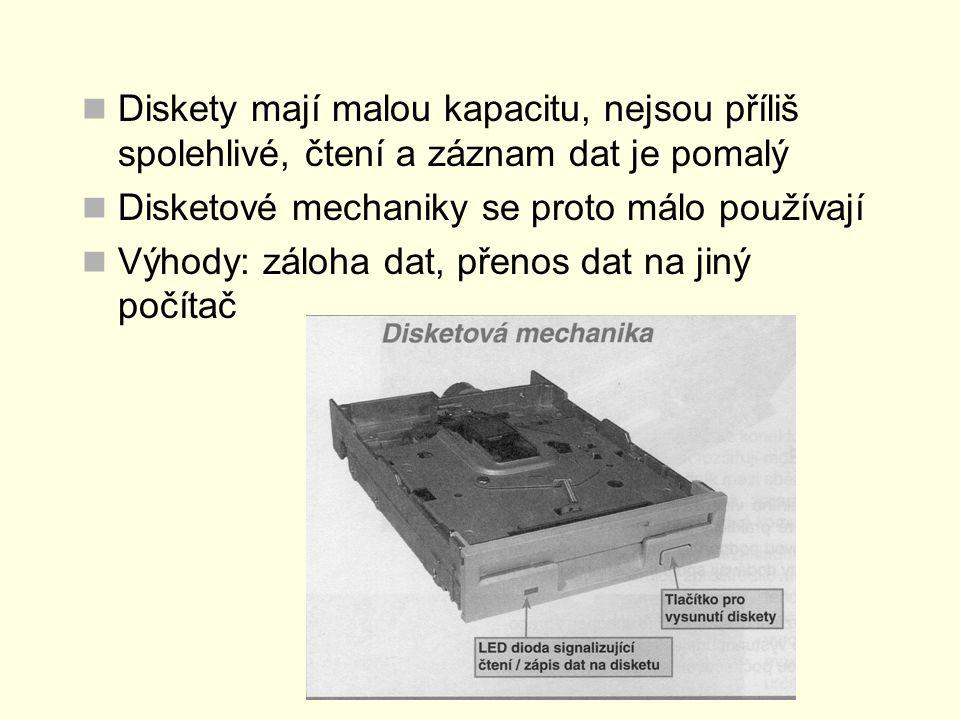 Diskety mají malou kapacitu, nejsou příliš spolehlivé, čtení a záznam dat je pomalý