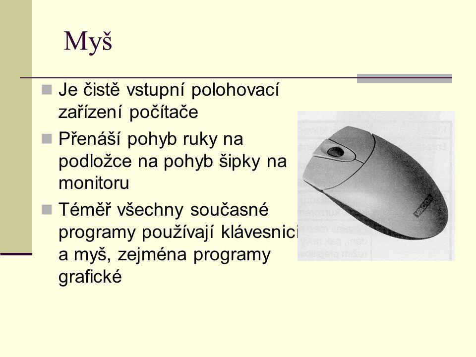 Myš Je čistě vstupní polohovací zařízení počítače