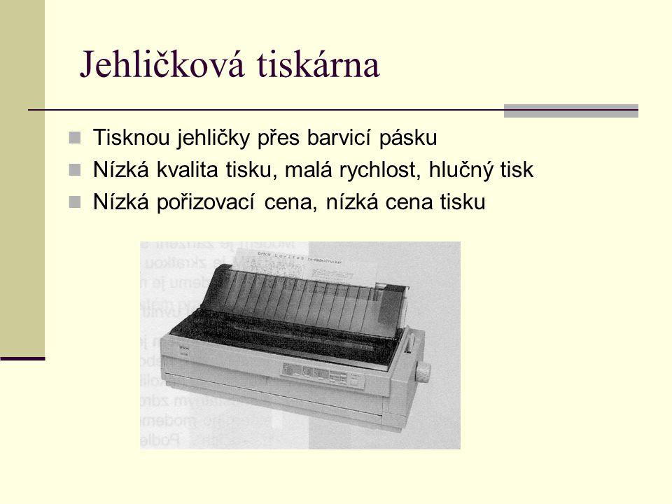 Jehličková tiskárna Tisknou jehličky přes barvicí pásku