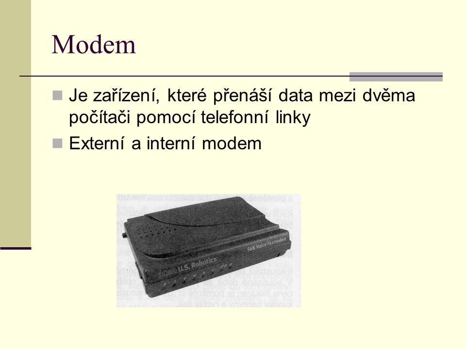 Modem Je zařízení, které přenáší data mezi dvěma počítači pomocí telefonní linky.