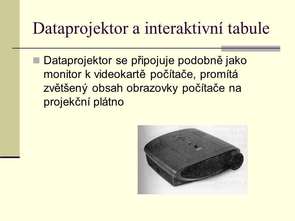 Dataprojektor a interaktivní tabule