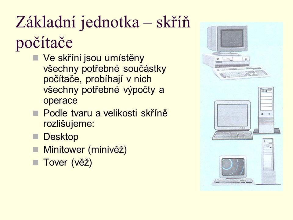 Základní jednotka – skříň počítače