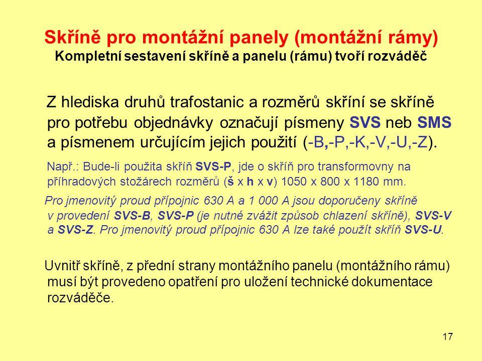 Skříně pro montážní panely (montážní rámy) Kompletní sestavení skříně a panelu (rámu) tvoří rozváděč