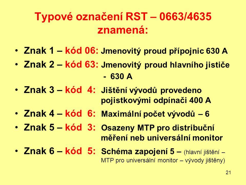 Typové označení RST – 0663/4635 znamená: