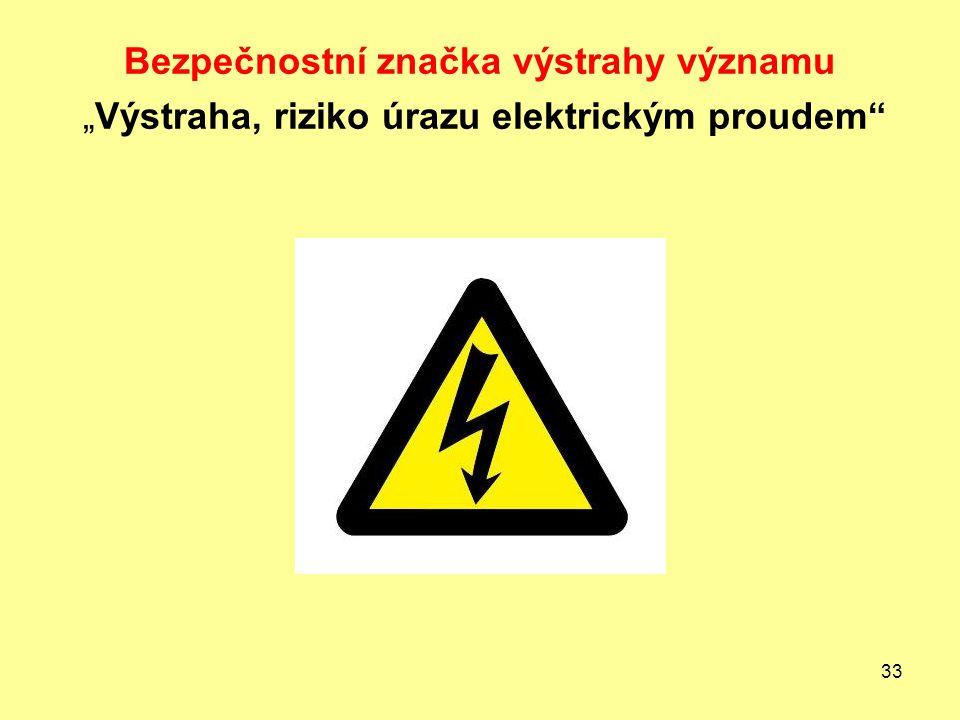"""Bezpečnostní značka výstrahy významu """"Výstraha, riziko úrazu elektrickým proudem"""