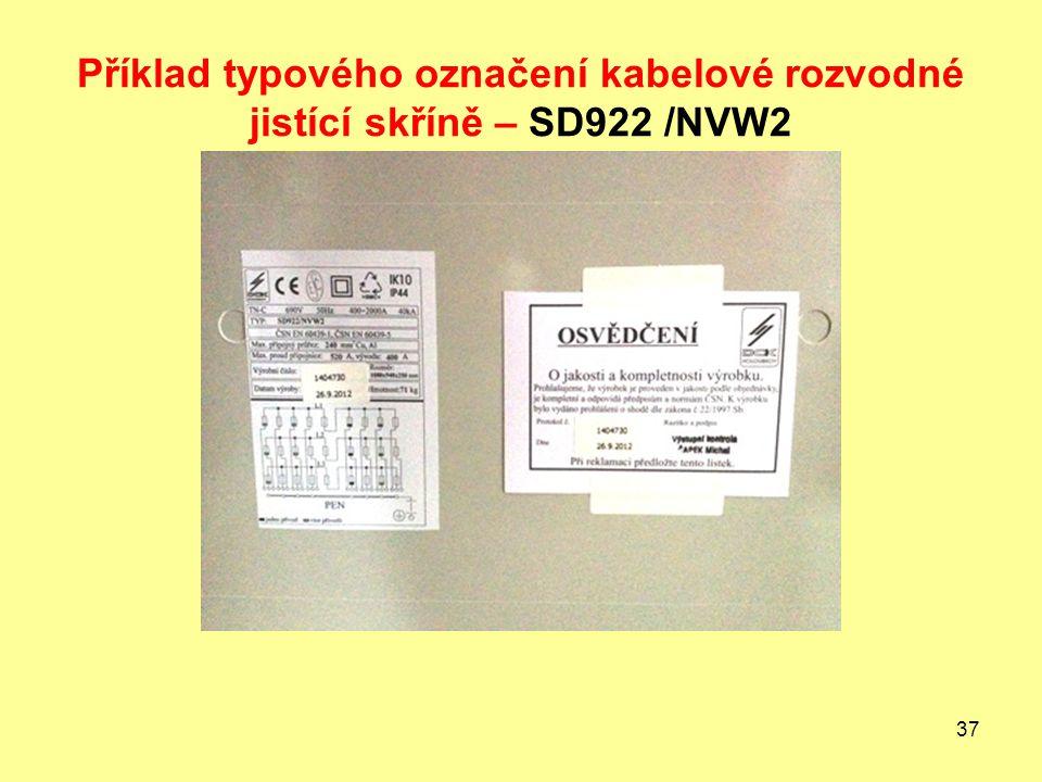 Příklad typového označení kabelové rozvodné jistící skříně – SD922 /NVW2