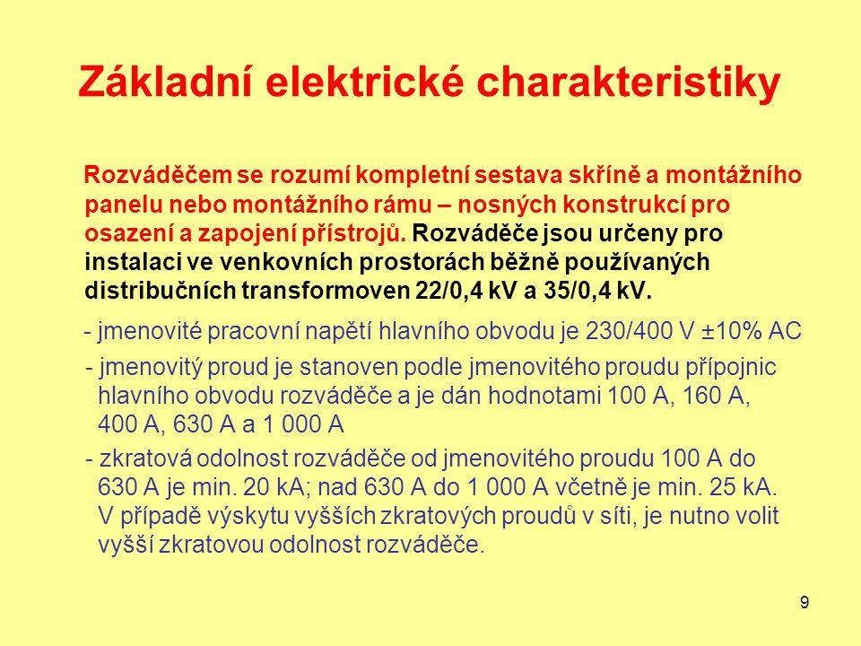 Základní elektrické charakteristiky
