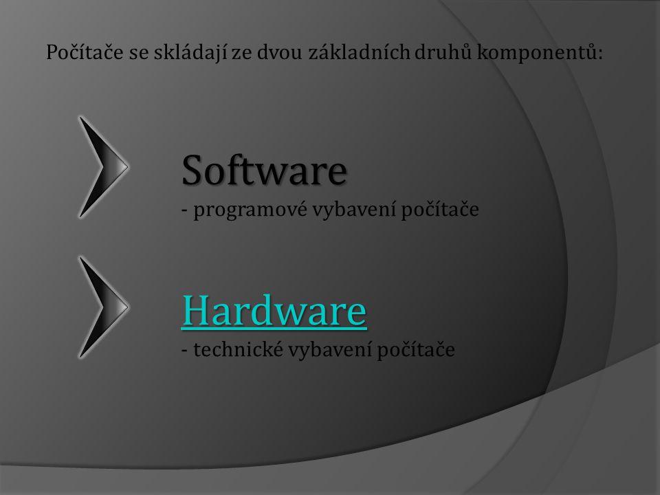 Počítače se skládají ze dvou základních druhů komponentů: