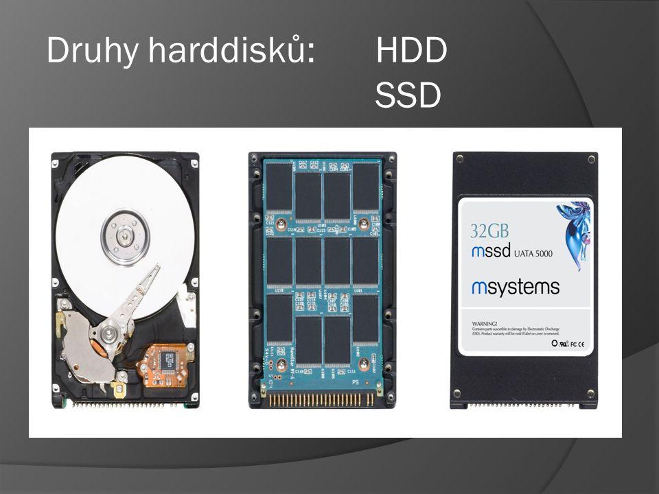Druhy harddisků: HDD SSD