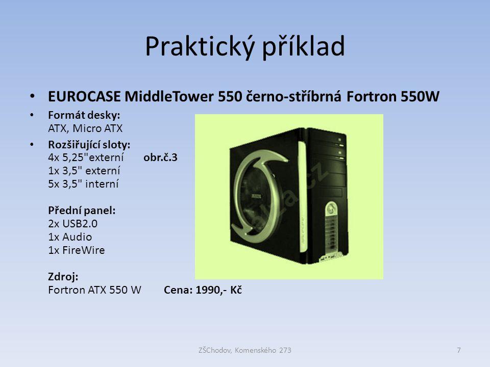 Praktický příklad EUROCASE MiddleTower 550 černo-stříbrná Fortron 550W