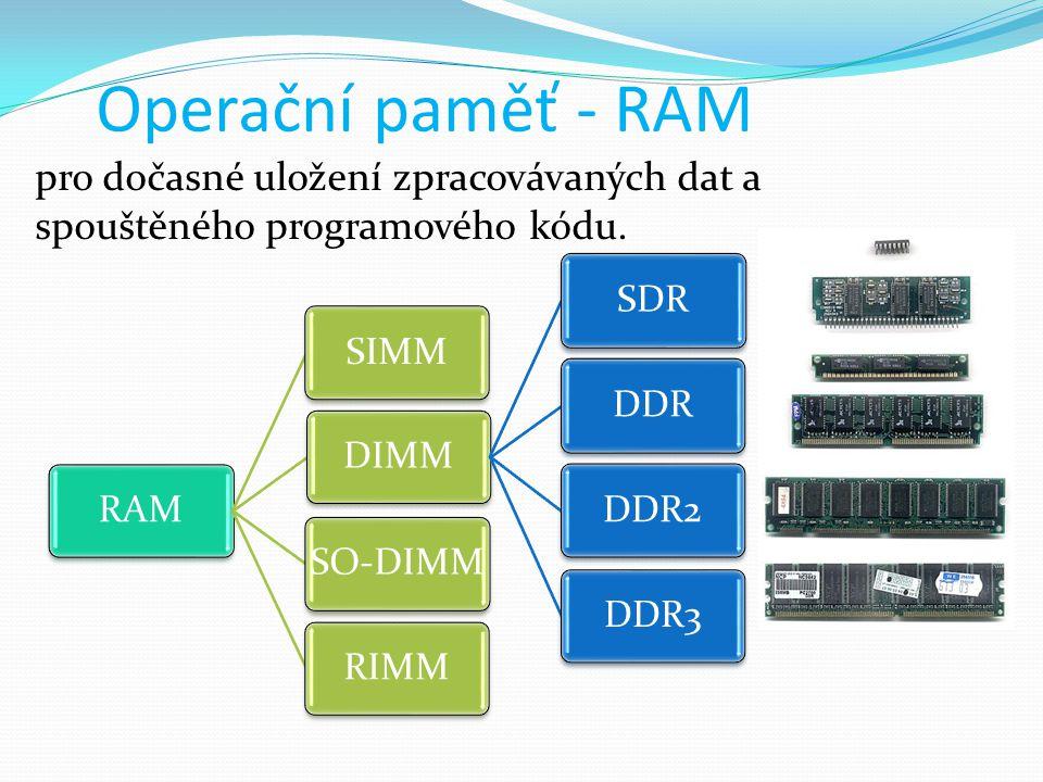 Operační paměť - RAM pro dočasné uložení zpracovávaných dat a spouštěného programového kódu. RAM. SIMM.