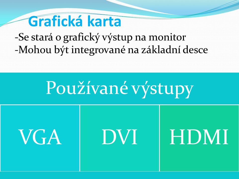VGA DVI HDMI Používané výstupy Grafická karta