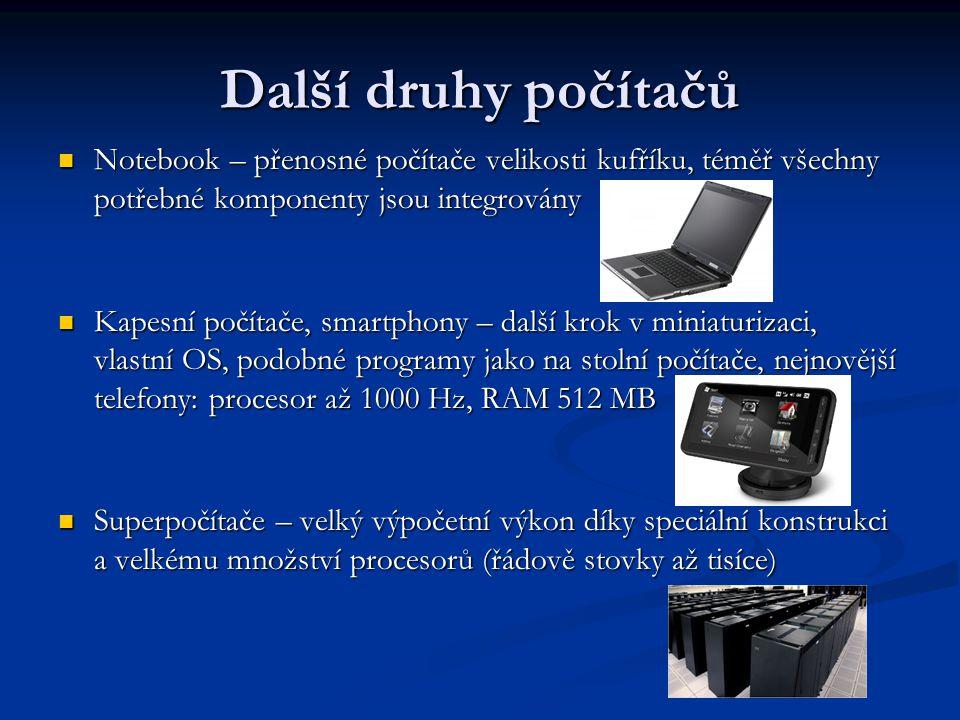 Další druhy počítačů Notebook – přenosné počítače velikosti kufříku, téměř všechny potřebné komponenty jsou integrovány.