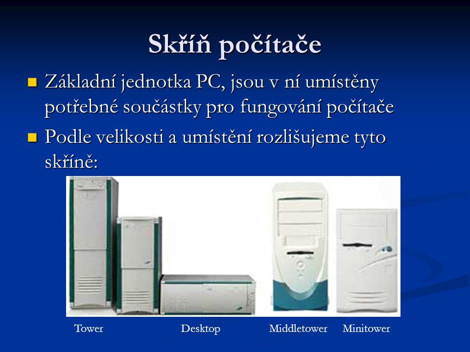 Skříň počítače Základní jednotka PC, jsou v ní umístěny potřebné součástky pro fungování počítače.