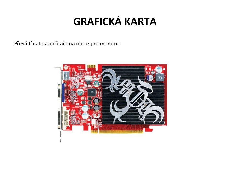 GRAFICKÁ KARTA Převádí data z počítače na obraz pro monitor.
