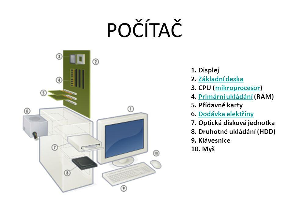 POČÍTAČ 1. Displej 2. Základní deska 3. CPU (mikroprocesor)