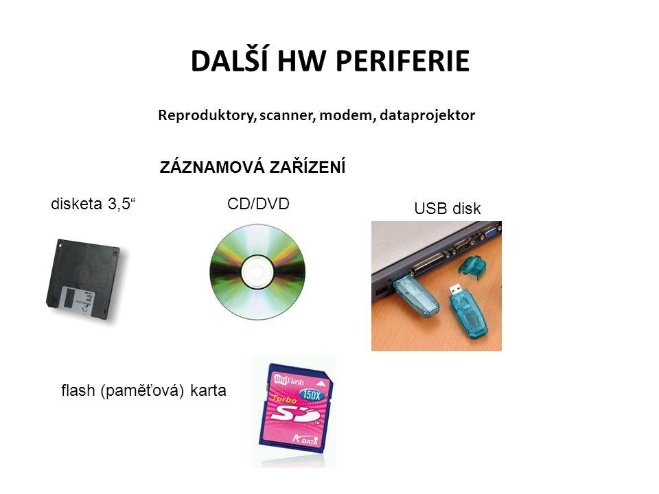 Reproduktory, scanner, modem, dataprojektor