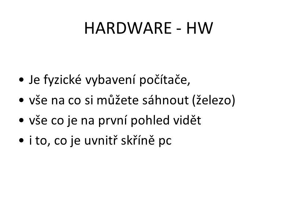 HARDWARE - HW Je fyzické vybavení počítače,