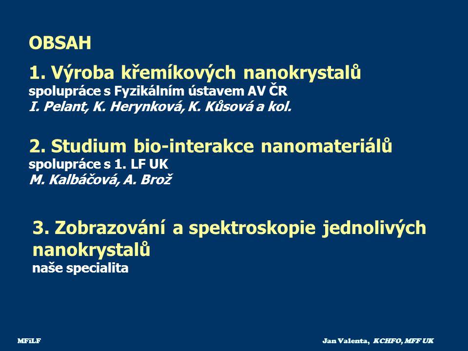 OBSAH 1. Výroba křemíkových nanokrystalů spolupráce s Fyzikálním ústavem AV ČR I. Pelant, K. Herynková, K. Kůsová a kol.