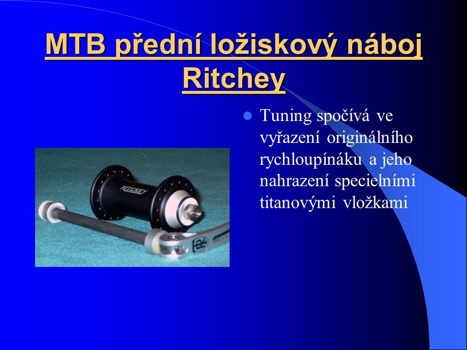 MTB přední ložiskový náboj Ritchey