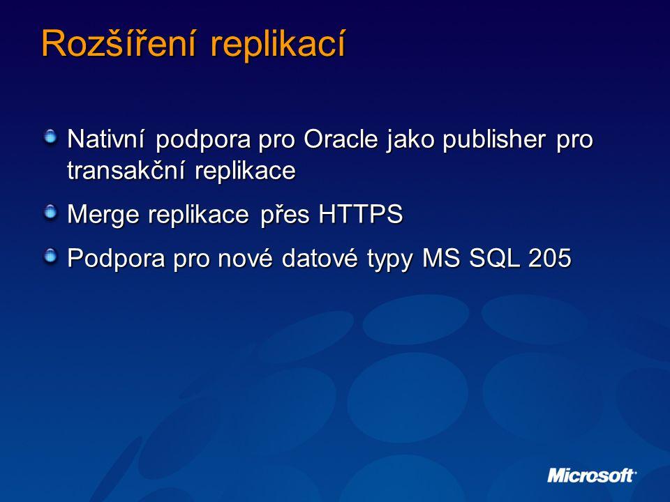 Rozšíření replikací Nativní podpora pro Oracle jako publisher pro transakční replikace. Merge replikace přes HTTPS.
