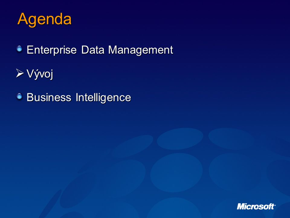 Agenda Enterprise Data Management Vývoj Business Intelligence
