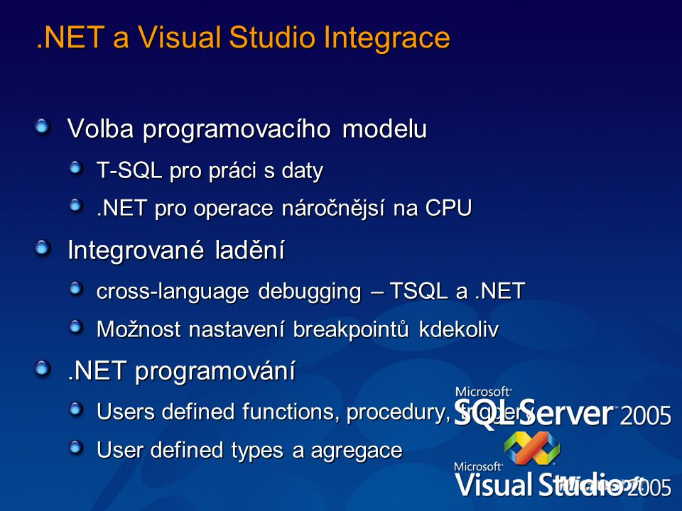 .NET a Visual Studio Integrace