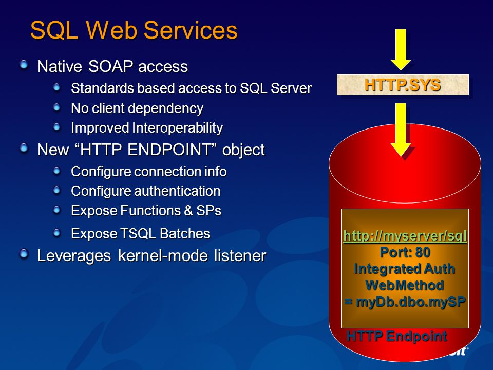 SQL Web Services HTTP.SYS Native SOAP access