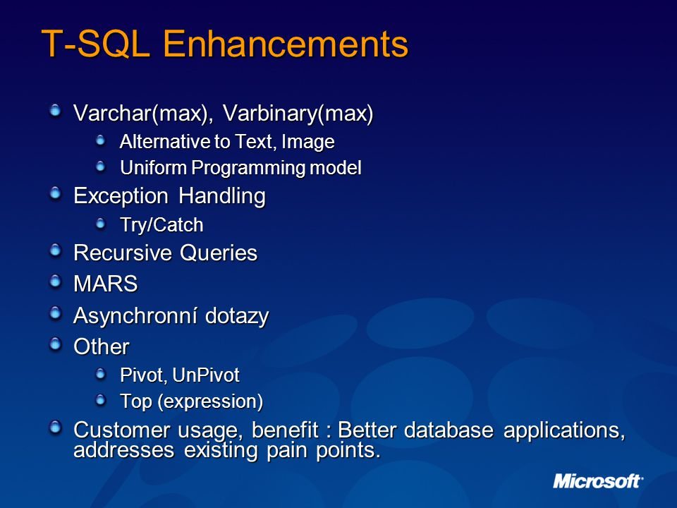 T-SQL Enhancements Varchar(max), Varbinary(max) Exception Handling