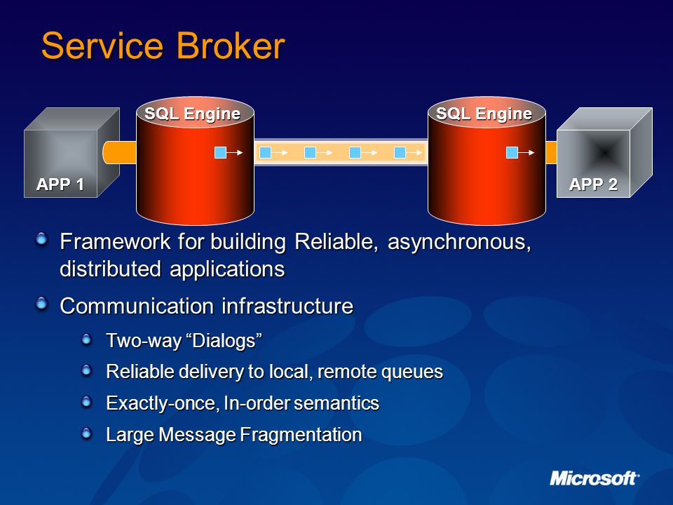 Service Broker SQL Engine. SQL Engine. APP 1. APP 2. Framework for building Reliable, asynchronous, distributed applications.